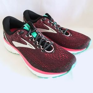 Brooks Ghost 11 Black Pink Aqua Athletic Shoes